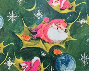 Vintage Christmas Wrapping Paper by St. Clair - Sleepy Santas Sleeping on Holly Leaves - 1 Unused Full Sheet Christmas Gift Wrap