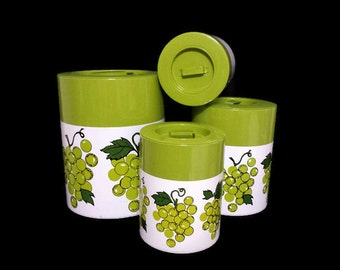 Green Grapes Metal Canister Set Mid Century Kitchen Decor Vintage Storage Made in Japan