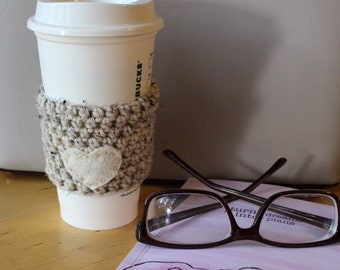 Oat Heart Felt Coffee Cozy ~ Oat Crochet Coffee Cozy ~ Oat Coffee Cozy ~ Reusable Coffee Sleeve