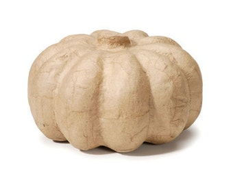 Paper Mache Pumpkin - 4 x 6.5 inches- 3D Unfinished Craft Halloween Fall Thanksgiving Shape - Home Decor