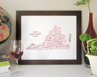 Virginia Wine Map Letterpress Poster – Red Wine Color