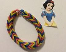 Snow White Inspired fishtail rainbow loom elastic rubber band bracelet