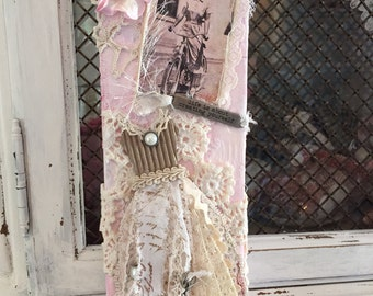 Vintage style dress collage/assemblage