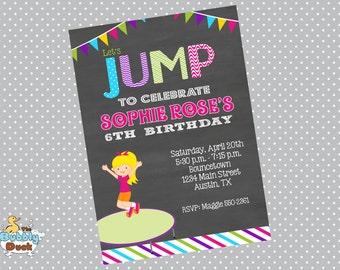 Girl Jump Birthday Invitation