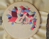 Geometric Mixed Media Original Embroidery Art Piece