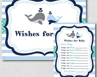 Whale Baby Shower Wish Card And Sign   Printable Baby Shower Or First  Birthday Wish Cards