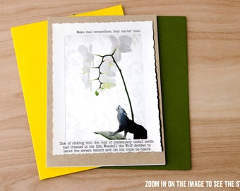 Funny Greeting Card • Social Media Dark Greeting Card  •Animal Tales Collection Card • Let's Get Together • Lone Wolf Card • Dark Humor