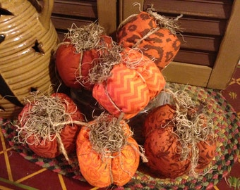Set of Primitive Country Fall/Halloween Fabric Pumpkins, Assorted Fall Fabrics
