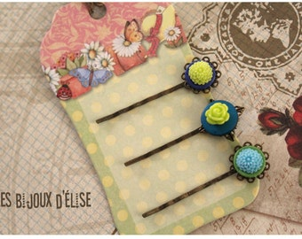 3 pcs Antique Bronze Hair Pins with Lime and Turquoise Flower Cabochon - Bridesmaid Gift (HP12)
