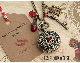 Fairy Tale Pocket Watch Pendant Necklace Oz Victorian Style Bronze Antique - There is no place like home