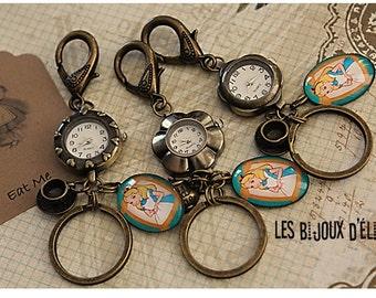 Sale -Alice in Wonderland Watch Keychain  Purse Dangle Teapot Handbag Bling