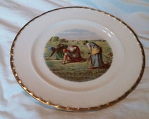 """On Sale Crooksville China 10 inch Dinner Plate """"Harvest"""" Design with Gold Rim Collectible Plate Wall Decor"""