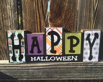 Happy Halloween wood blocks--halloween decor