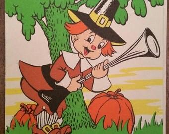 1950s Barker Thanksgiving Card, Made in USA, Vintage Cartoon Humor Joke Card, Pilgrim Wishbone Autumn Harvest Friend Greeting Card, Neon