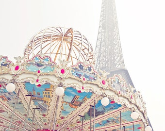 Paris photography, Paris Print, Eiffel tower, carousel, nursery decor, Pastel photography,Feminine