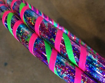 Pink/Blue Tie Dye Sparkly Taped Infinity Collapsible Travel Hula Hoop