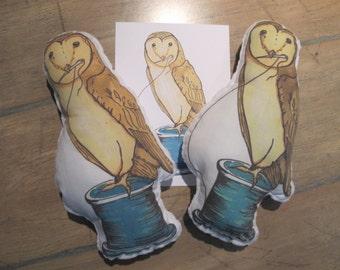 Sewing Owl Plushie, Nursery decoration, Owl plushy, Owl Softie, Little Owl Doll, Minky Plush Toy, Small Woodland Plush, Cute Owl Stuffie