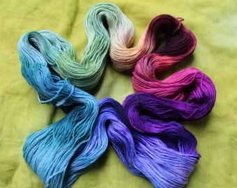 100 g hand dyed pure new wool yarn, Rainbow