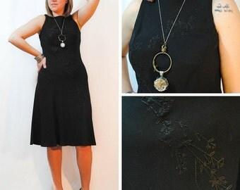 Black Dress - Black Dress, Black Floral Dress, Floral Dress, Black Beaded Dress, Vintage Dresses
