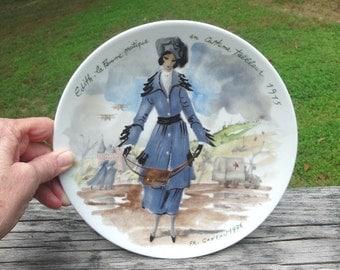 1976 Vintage Edith La Femme Pratique, the Practical Woman in 1915 Tailored Costume, Porcelain Plate, D-Arceau-Limoges, Ganeav, Plate VI