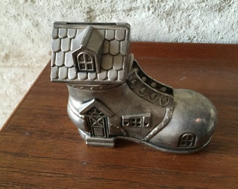 "Silver Plated ""Mother in the Shoe"" Bank-Vintage"