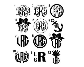 Monogram Anchor Decal Monogram Car Decal Monogram Decal - Monogrammed custom vinyl decals for car