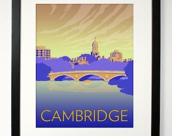 "CAMBRIDGE Print - travel poster- charles river - massachusetts wall art - MIT Harvard Head of Charles Rowing - 8"" x 10"" or 11"" x 14"" print"