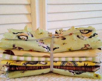 Rag Quilt Style Burp Cloths, Where The Wild Things Are ONE Set of Two Gray Brown Green Yellow Woodland Baby Shower Gift Basket