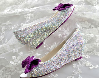 Custom Cadbury Purple glitter sole & AB swarovski crystal wedding bridal Low Heel Peeptoe Wedge Bow Heel