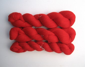 Destash Cashmere Lace Recycled Yarn, Three Skeins, 1790 Yards, Red