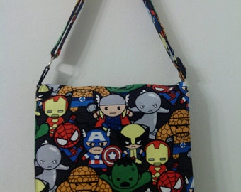 Miniature Super Heroes Toddler Size Messenger / Cross Body Bag