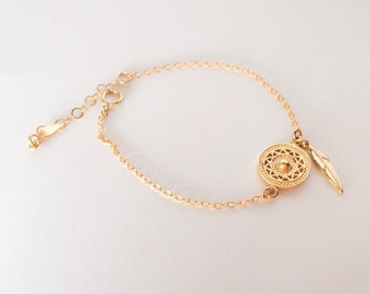 Dream catcher bracelet from gold filled