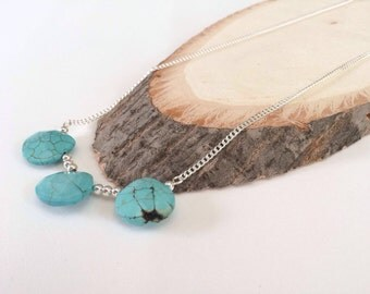 Silver necklace   necklace with howlite stones   special stones