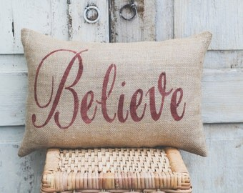 Christmas Pillow Decor Pillow Believe Christmas Pillow 14x9 accent pillow