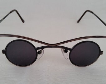 Vintage Funky Small Round Specs. Cool Round Sunnies. CopperColor Round Funky Sunglasses, Perfectly Round Small Sunglasses.