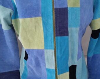 Vintage 80's Color Block Suede Short Jacket. Karen Arnold Patchwork Suede Jacket. All Shades of Blue Color Block Suede Short Jacket.SALESALE
