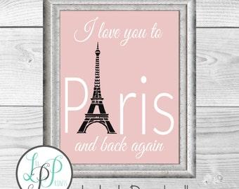 Pink Paris Print, Paris Theme Art, Paris Theme Wall Decor, Eiffel Tower Print, Paris Digital Print, Paris Printable Art, Paris Nursery Decor