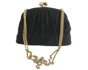 Vintage Purse Kiss Lock Purse Ingber Purse Black Evening Bag Shoulder Bag Gold Chain Purse Black Wool Purse 1950s Purse Retro Handbag