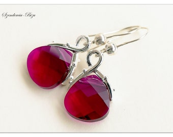 Silver earrings, Swarovski Elements, Flat Briolette 15mm Ruby, Ruby earrings, Briolette earrings, Red earrings, Ruby red earrings