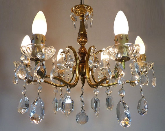 Antique French Bronze And Crystal Prisms Chandelier 6 Arms