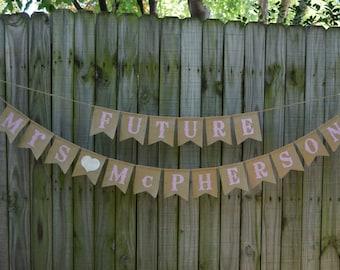 Couples Shower Decorations, Engagement Party Decor, Future Mrs Burlap Bunting, Bridal Shower Banner, Future Mr Mrs Banner, Pink  Gold Shower