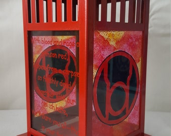 DC Comic's Red Lantern Rage Stained Glass Candle Lantern