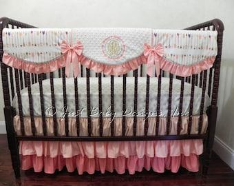 Custom Baby Girl Bedding Set Tiana - Coral Baby Bedding, Girl Crib Bedding, Arrow Baby Bedding, Crib Rail Cover, Ruffle Skirt