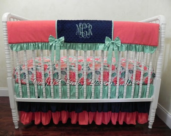 Baby Girl Crib Bedding Set Celyn -  Bumperless Crib Bedding, Coral, Navy, and Mint Baby Bedding, Crib Rail Cover, Girl Baby Bedding
