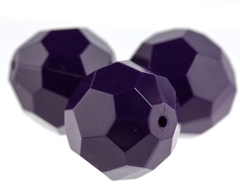 18mm facetted bead in plum purple 3Pcs