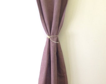 100 linen curtain chocolate brown