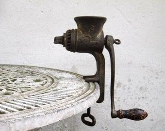 Antique Cast Iron Meat Grinder - Rustic Kitchen Decor - Farmhouse Decor