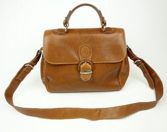 Brown leather messenger bag, cross body multi compartment shoulder bag