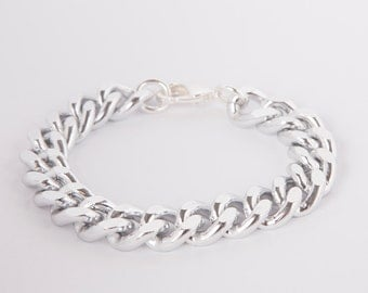Bracelet Silver  Curb Chain  Silver Plated Chunky Curb Bracelet Rosegold