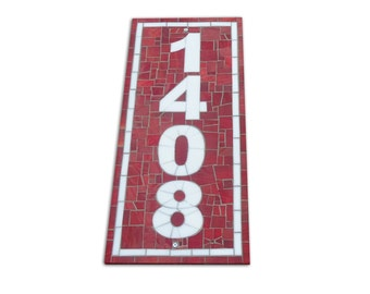Vertical Mosaic Address Plaque in Red and White Stained Glass, Mosaic House Number